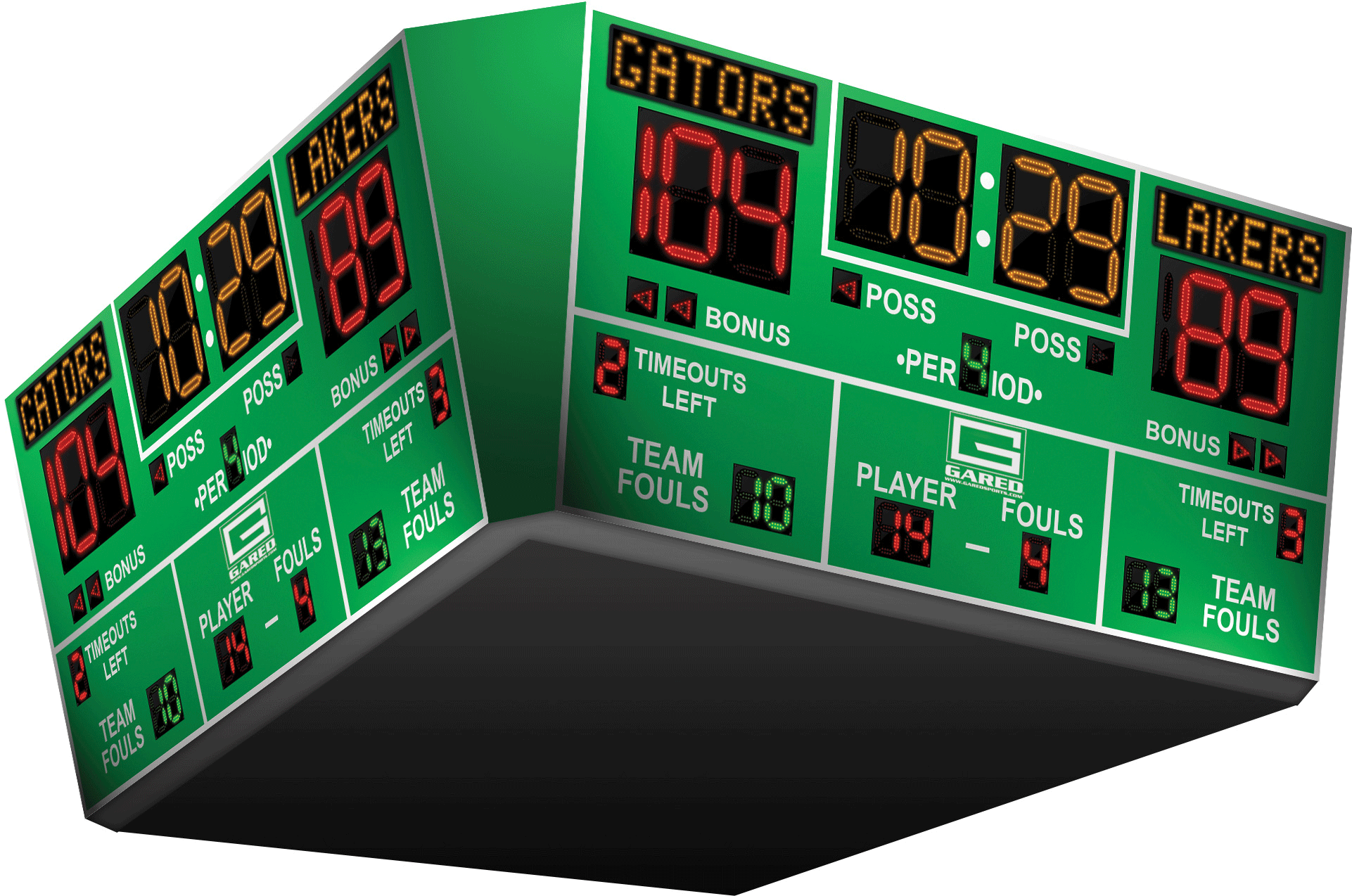 scoreboard basketball arena scoreboards sided four sports number gs alphatec gymnasium systems equipment main